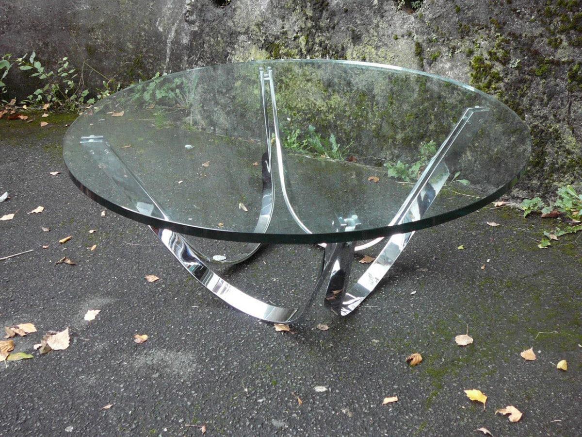 Glas Flachstahl Clubtisch Roger Sprunger Plattform 32